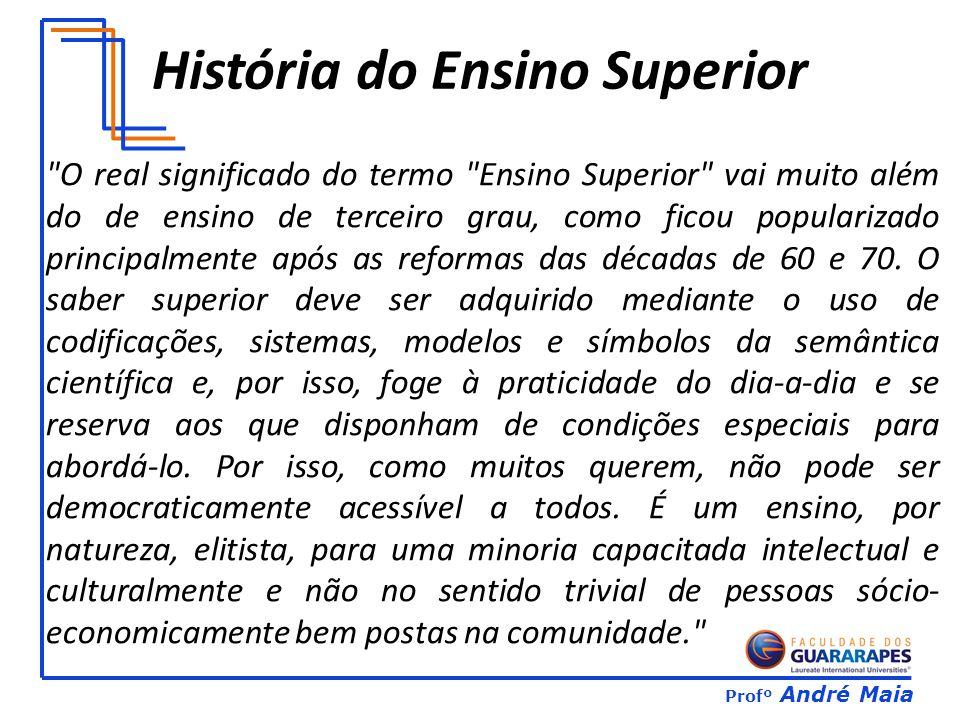 Profº André Maia História do Ensino Superior O real significado do termo Ensino Superior vai muito além do de ensino de terceiro grau, como ficou popularizado principalmente após as reformas das décadas de 60 e 70.