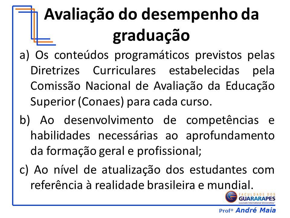 Profº André Maia Avaliação do desempenho da graduação a) Os conteúdos programáticos previstos pelas Diretrizes Curriculares estabelecidas pela Comissão Nacional de Avaliação da Educação Superior (Conaes) para cada curso.