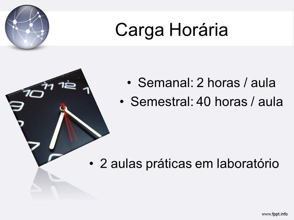 Carga Horária Semanal: 2 horas / aula Semestral: 40 horas / aula 2 aulas práticas em laboratório