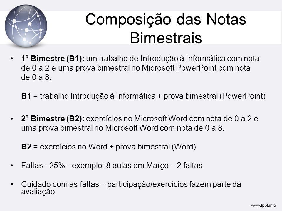Composição das Notas Bimestrais 1º Bimestre (B1): um trabalho de Introdução à Informática com nota de 0 a 2 e uma prova bimestral no Microsoft PowerPoint com nota de 0 a 8.