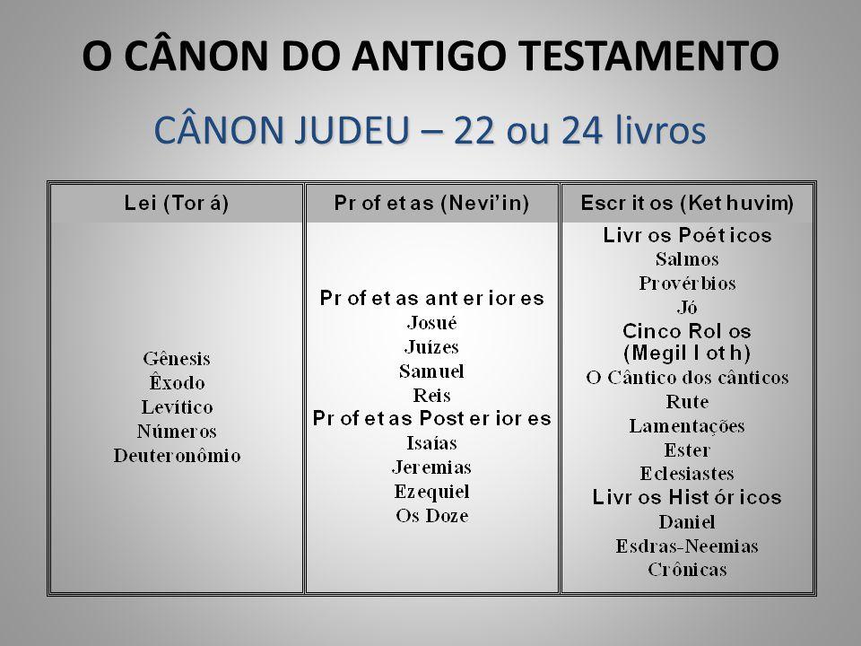 O CÂNON DO ANTIGO TESTAMENTO CÂNON JUDEU – 22 ou 24 livros
