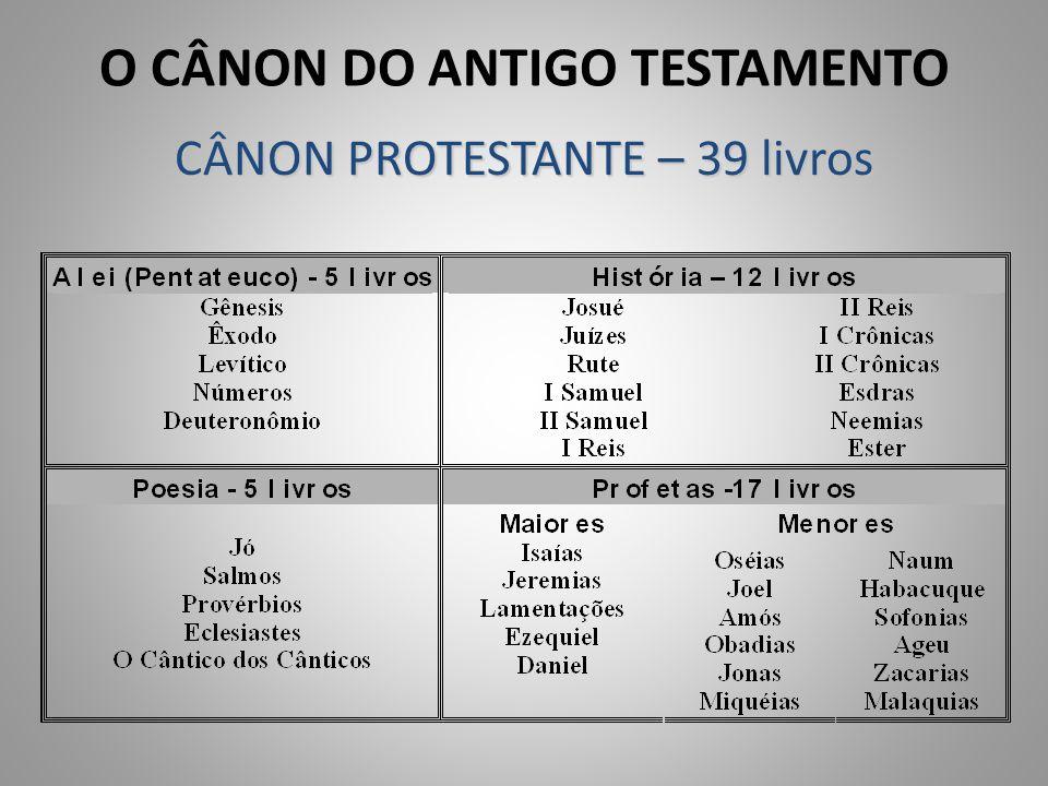 O CÂNON DO ANTIGO TESTAMENTO CÂNON PROTESTANTE – 39 livros
