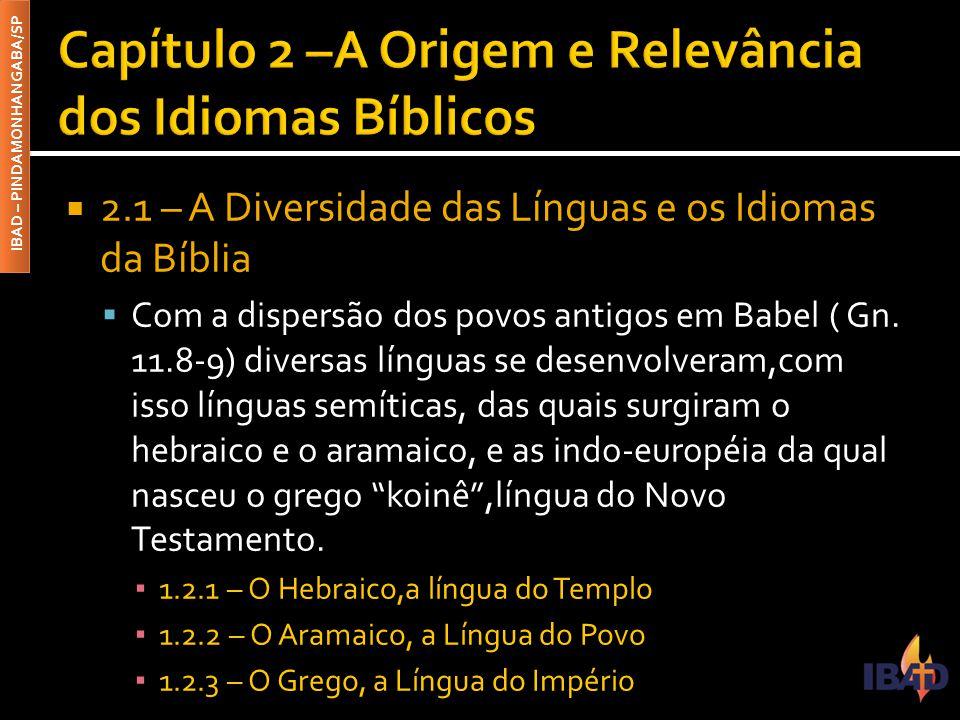 IBAD – PINDAMONHANGABA/SP  2.2 – A Tradição Oral e as Vantagem da Língua Escrita  Antes do surgimento da língua escrita formal, o conteúdo da mensagem bíblica era transmitido de forma oral de pais para filhos, tradição conservada rigidamente pelos orientais,até que se originaram os primeiros escritos com suas vantagens que são: ▪ 2.2.1 - Precisão ▪ 2.2.2 - Continuidade ▪ 2.2.3 - Objetividade ▪ 2.2.4 - Propagação