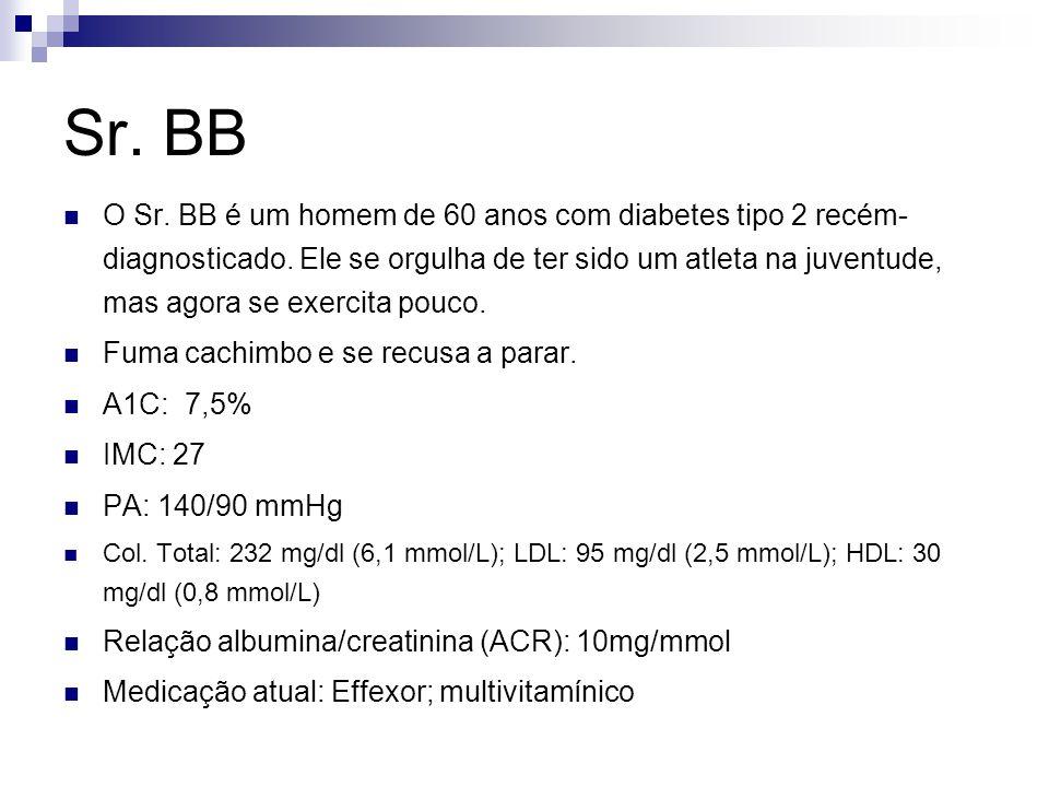 Sr. BB O Sr. BB é um homem de 60 anos com diabetes tipo 2 recém- diagnosticado. Ele se orgulha de ter sido um atleta na juventude, mas agora se exerci