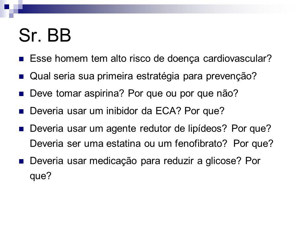 Sr. BB Esse homem tem alto risco de doença cardiovascular? Qual seria sua primeira estratégia para prevenção? Deve tomar aspirina? Por que ou por que