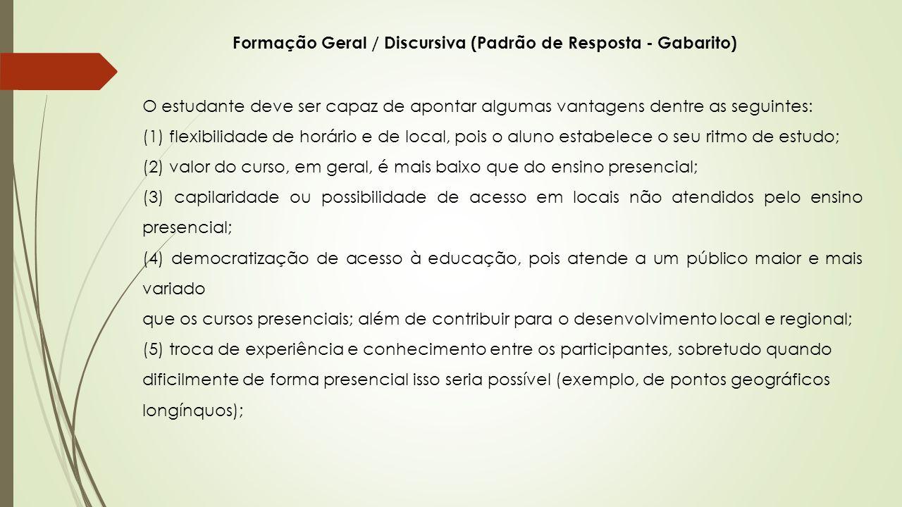 Formação Geral / Discursiva (Padrão de Resposta - Gabarito) O estudante deve ser capaz de apontar algumas vantagens dentre as seguintes: (1) flexibili