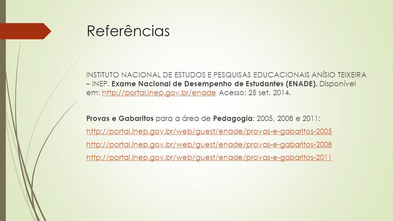 Referências INSTITUTO NACIONAL DE ESTUDOS E PESQUISAS EDUCACIONAIS ANÍSIO TEIXEIRA – INEP. Exame Nacional de Desempenho de Estudantes (ENADE). Disponí