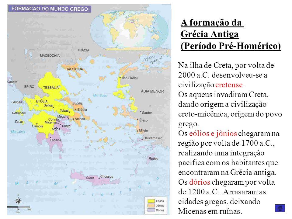 A formação da Grécia Antiga (Período Pré-Homérico) Na ilha de Creta, por volta de 2000 a.C. desenvolveu-se a civilização cretense. Os aqueus invadiram