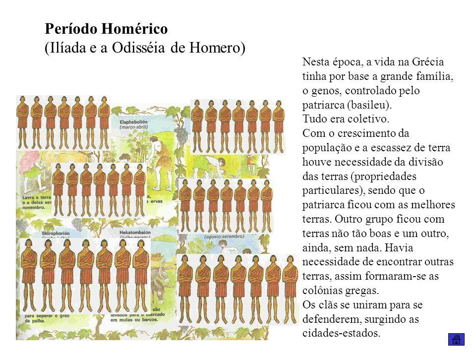 Nesta época, a vida na Grécia tinha por base a grande família, o genos, controlado pelo patriarca (basileu). Tudo era coletivo. Com o crescimento da p