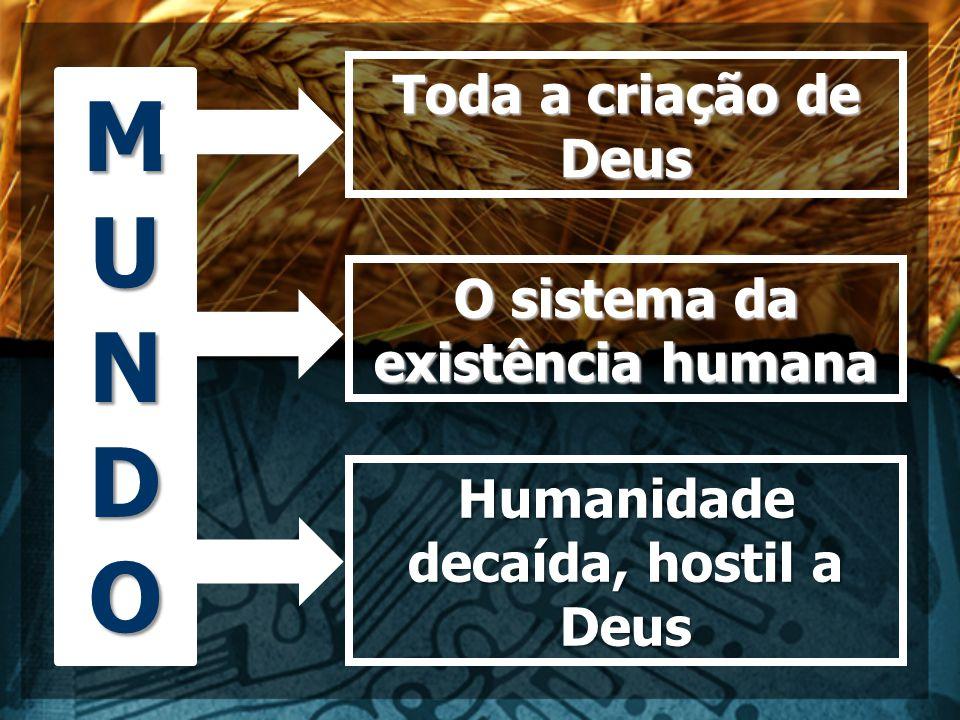 MUNDOMUNDOMUNDOMUNDO Toda a criação de Deus O sistema da existência humana Humanidade decaída, hostil a Deus