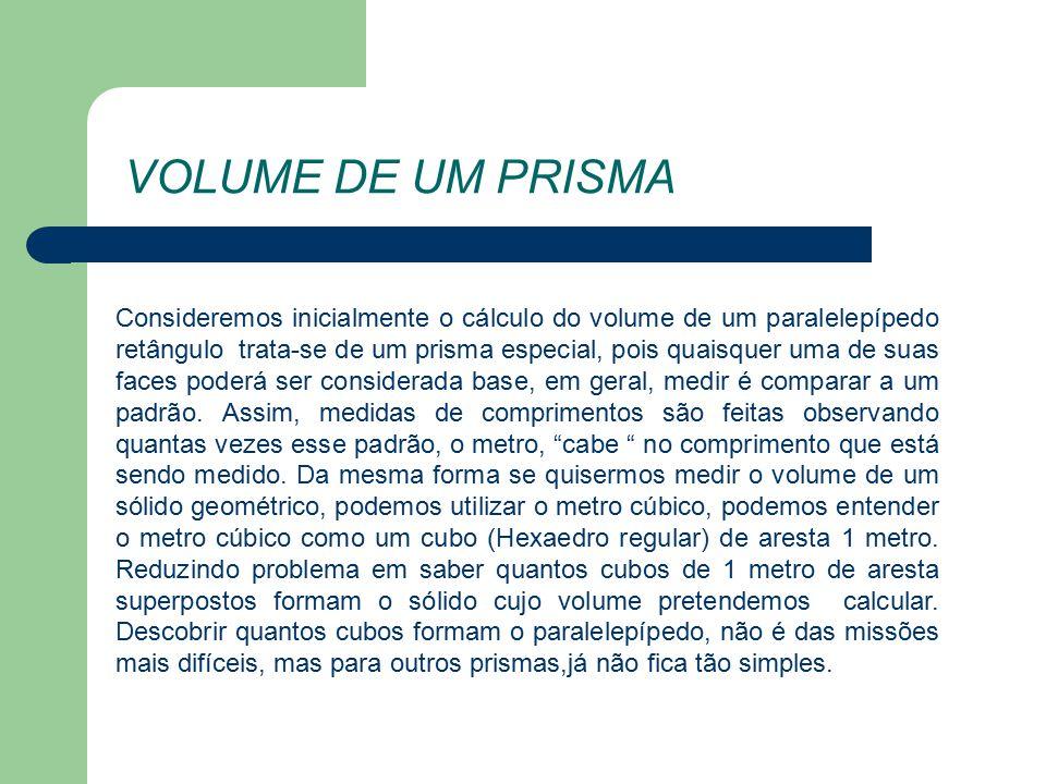 VOLUME DE UM PRISMA Consideremos inicialmente o cálculo do volume de um paralelepípedo retângulo trata-se de um prisma especial, pois quaisquer uma de suas faces poderá ser considerada base, em geral, medir é comparar a um padrão.