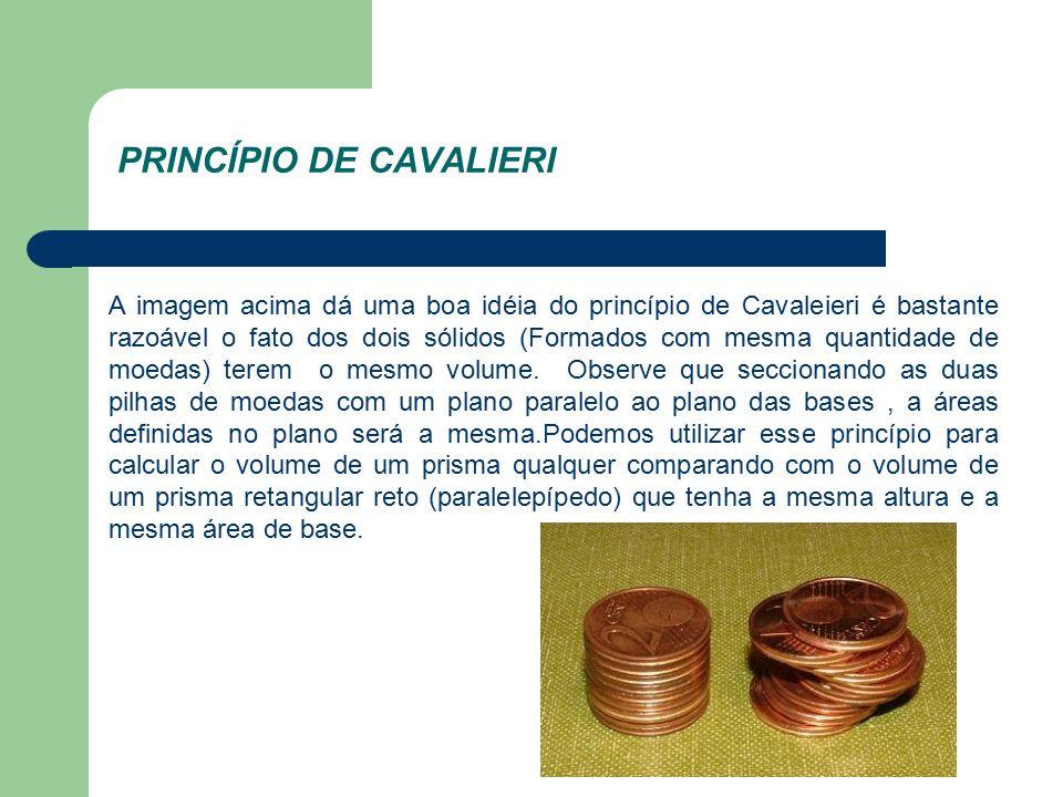 PRINCÍPIO DE CAVALIERI A imagem acima dá uma boa idéia do princípio de Cavaleieri é bastante razoável o fato dos dois sólidos (Formados com mesma quantidade de moedas) terem o mesmo volume.