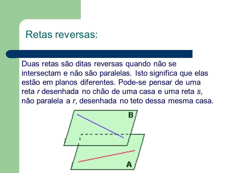Duas retas são ditas reversas quando não se intersectam e não são paralelas. Isto significa que elas estão em planos diferentes. Pode-se pensar de uma