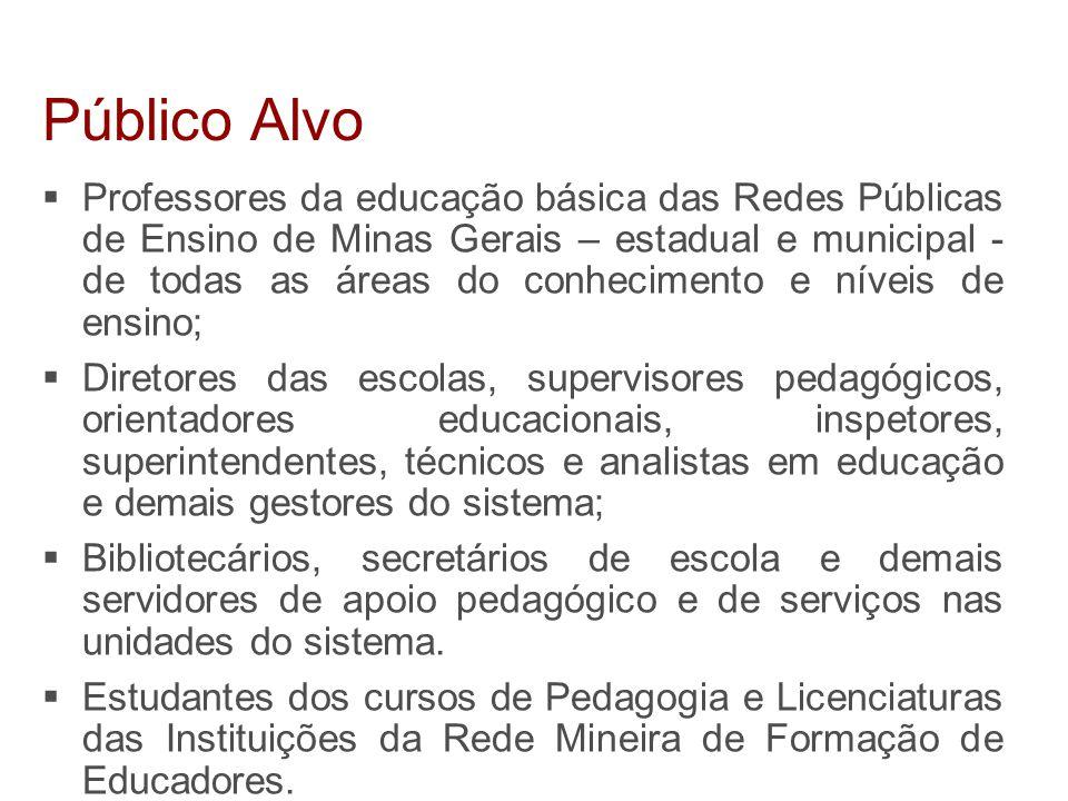 Professores da educação básica das Redes Públicas de Ensino de Minas Gerais – estadual e municipal - de todas as áreas do conhecimento e níveis de e