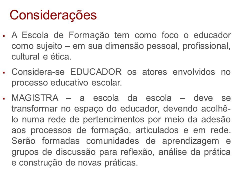  A Escola de Formação tem como foco o educador como sujeito – em sua dimensão pessoal, profissional, cultural e ética.  Considera-se EDUCADOR os ato
