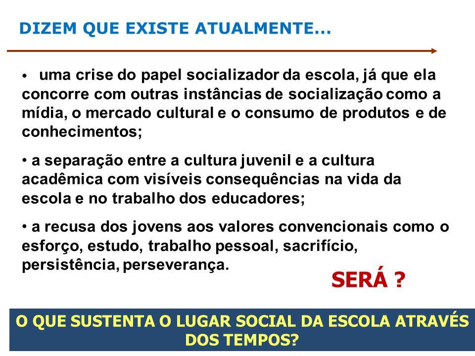 DIZEM QUE EXISTE ATUALMENTE... uma crise do papel socializador da escola, já que ela concorre com outras instâncias de socialização como a mídia, o me