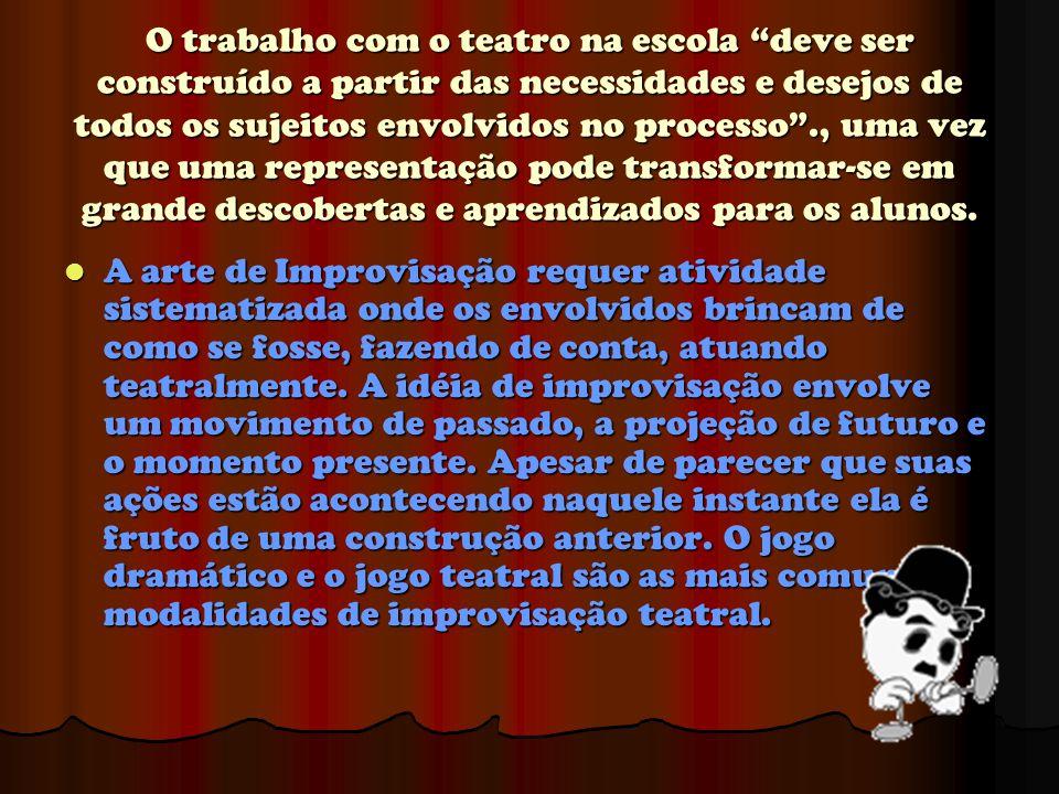 """O trabalho com o teatro na escola """"deve ser construído a partir das necessidades e desejos de todos os sujeitos envolvidos no processo""""., uma vez que"""