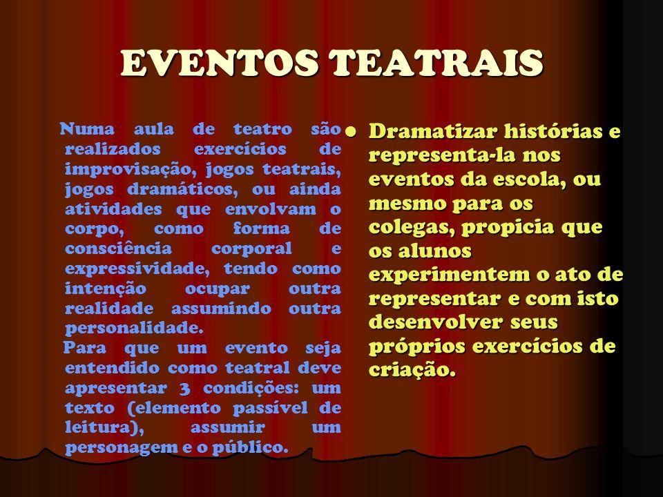 EVENTOS TEATRAIS Numa aula de teatro são realizados exercícios de improvisação, jogos teatrais, jogos dramáticos, ou ainda atividades que envolvam o c