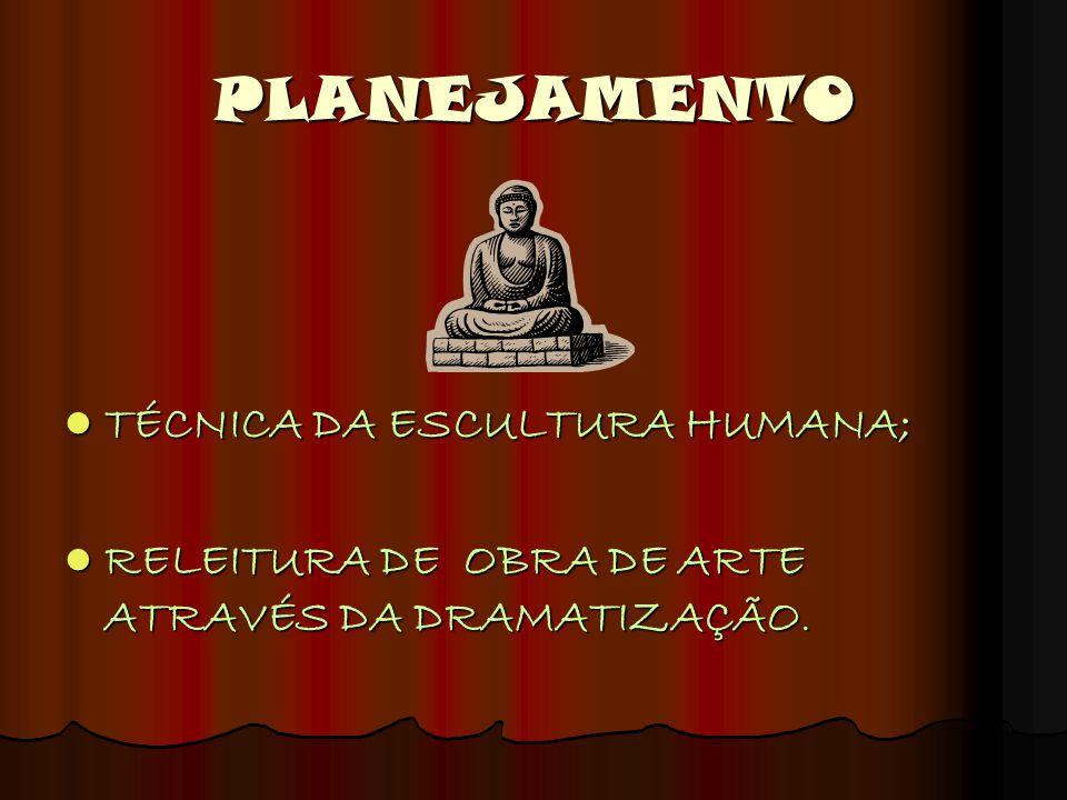 PLANEJAMENTO TÉCNICA DA ESCULTURA HUMANA; RELEITURA DE OBRA DE ARTE ATRAVÉS DA DRAMATIZAÇÃO.