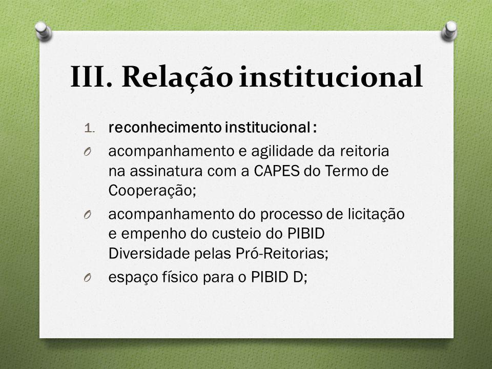 III. Relação institucional 1.