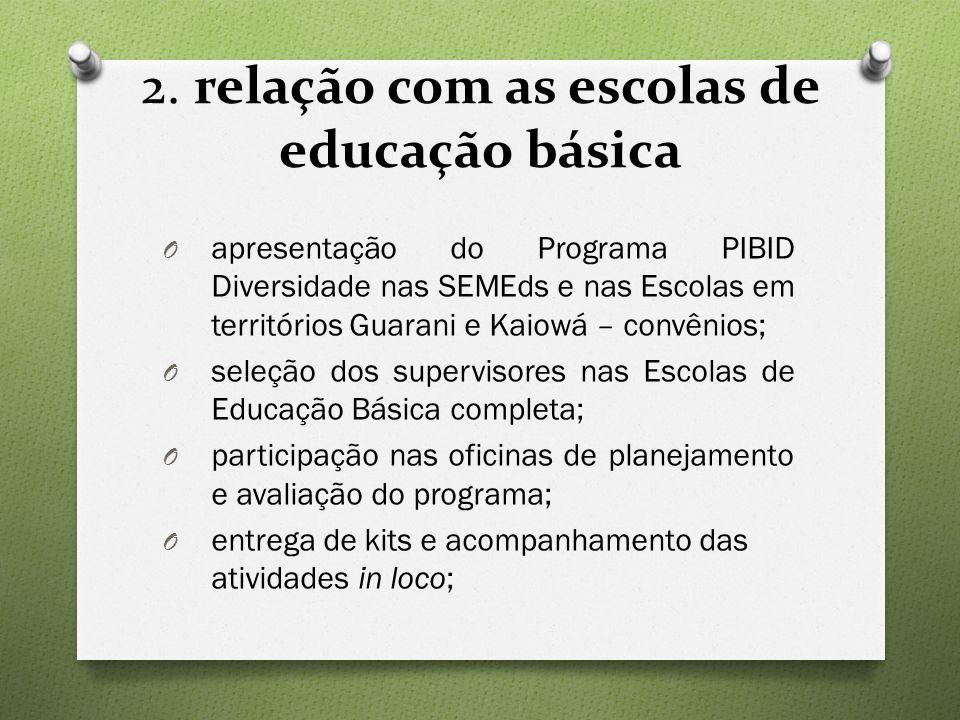 2. relação com as escolas de educação básica O apresentação do Programa PIBID Diversidade nas SEMEds e nas Escolas em territórios Guarani e Kaiowá – c