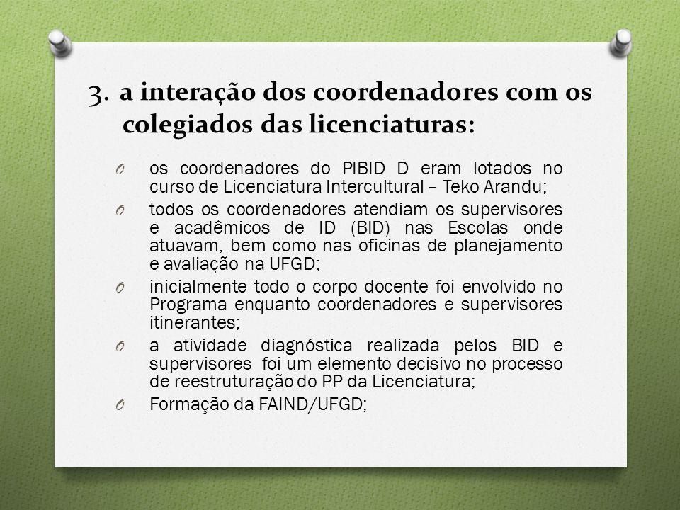 3. a interação dos coordenadores com os colegiados das licenciaturas: O os coordenadores do PIBID D eram lotados no curso de Licenciatura Intercultura
