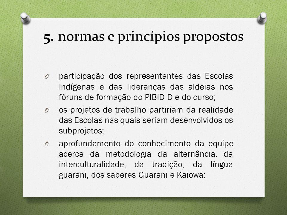 5. normas e princípios propostos O participação dos representantes das Escolas Indígenas e das lideranças das aldeias nos fóruns de formação do PIBID