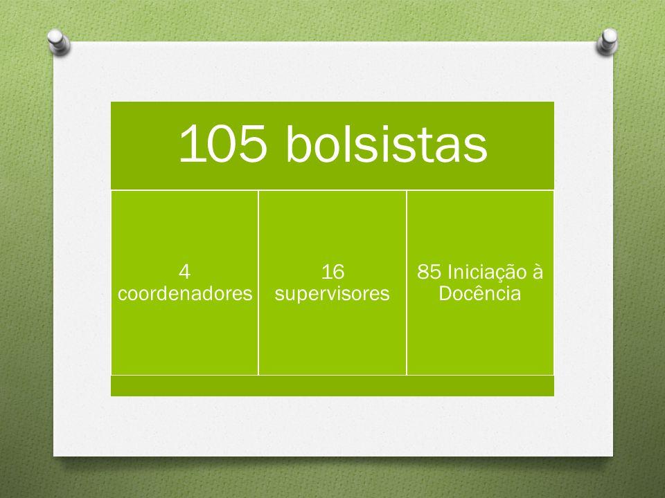 105 bolsistas 4 coordenadores 16 supervisores 85 Iniciação à Docência