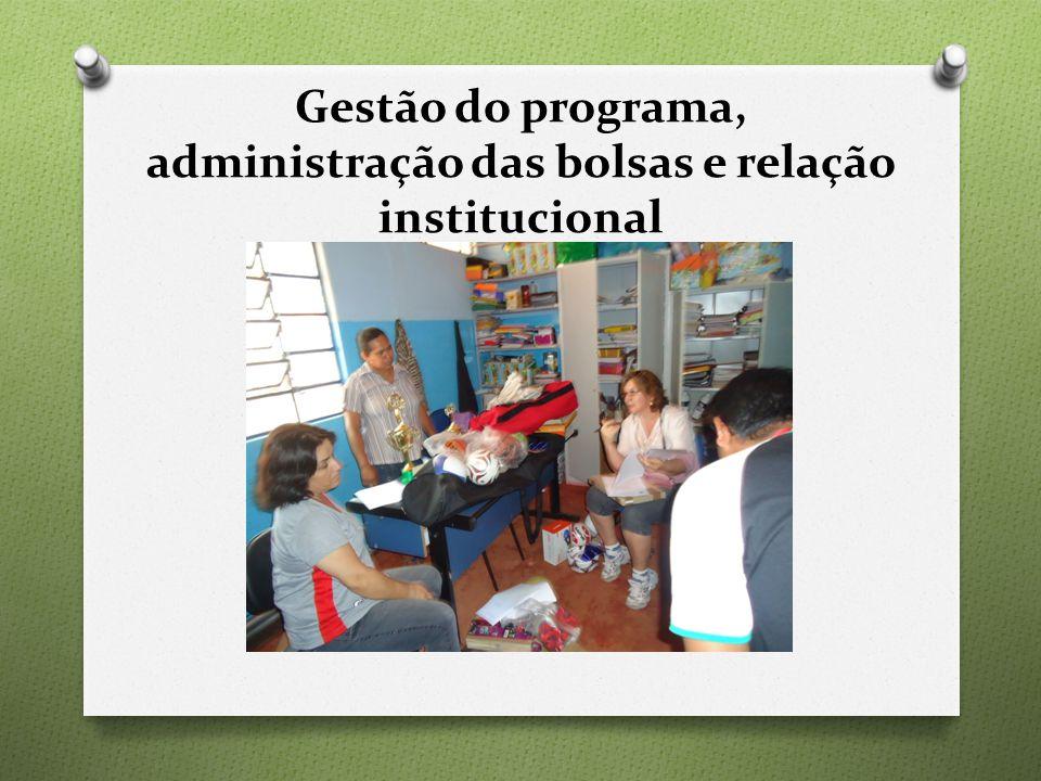 Gestão do programa, administração das bolsas e relação institucional