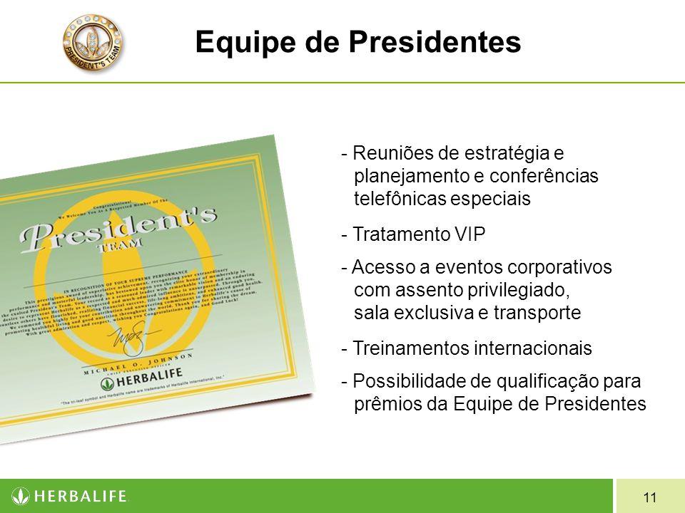 11 Equipe de Presidentes - Reuniões de estratégia e planejamento e conferências telefônicas especiais - Tratamento VIP - Acesso a eventos corporativos com assento privilegiado, sala exclusiva e transporte - Treinamentos internacionais - Possibilidade de qualificação para prêmios da Equipe de Presidentes