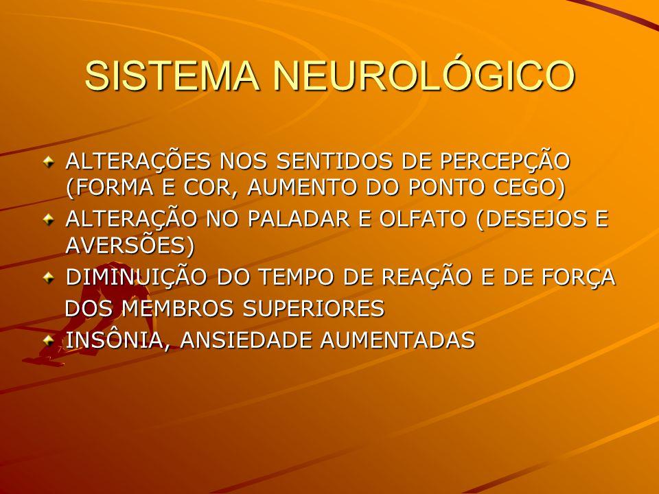 SISTEMA NEUROLÓGICO ALTERAÇÕES NOS SENTIDOS DE PERCEPÇÃO (FORMA E COR, AUMENTO DO PONTO CEGO) ALTERAÇÃO NO PALADAR E OLFATO (DESEJOS E AVERSÕES) DIMINUIÇÃO DO TEMPO DE REAÇÃO E DE FORÇA DOS MEMBROS SUPERIORES DOS MEMBROS SUPERIORES INSÔNIA, ANSIEDADE AUMENTADAS