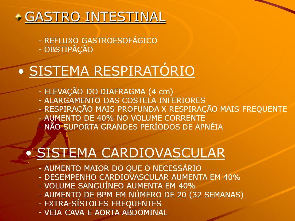 GASTRO INTESTINAL - REFLUXO GASTROESOFÁGICO - OBSTIPÃÇÃO SISTEMA RESPIRATÓRIO - ELEVAÇÃO DO DIAFRAGMA (4 cm) - ALARGAMENTO DAS COSTELA INFERIORES - RESPIRAÇÃO MAIS PROFUNDA X RESPIRAÇÃO MAIS FREQUENTE - AUMENTO DE 40% NO VOLUME CORRENTE - NÃO SUPORTA GRANDES PERÍODOS DE APNÉIA SISTEMA CARDIOVASCULAR - AUMENTO MAIOR DO QUE O NECESSÁRIO - DESEMPENHO CARDIOVASCULAR AUMENTA EM 40% - VOLUME SANGUÍNEO AUMENTA EM 40% - AUMENTO DE BPM EM NÚMERO DE 20 (32 SEMANAS) - EXTRA-SÍSTOLES FREQUENTES - VEIA CAVA E AORTA ABDOMINAL