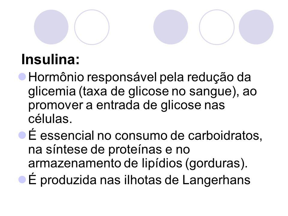 Insulina: Hormônio responsável pela redução da glicemia (taxa de glicose no sangue), ao promover a entrada de glicose nas células.
