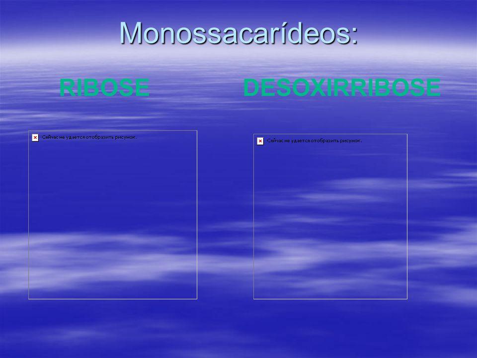 Monossacarídeos: RIBOSE DESOXIRRIBOSE