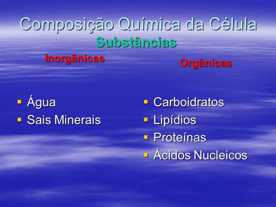 Composição Química da Célula Inorgânicas  Água  Sais Minerais Substâncias  Carboidratos  Lipídios  Proteínas  Ácidos Nucleicos Orgânicas