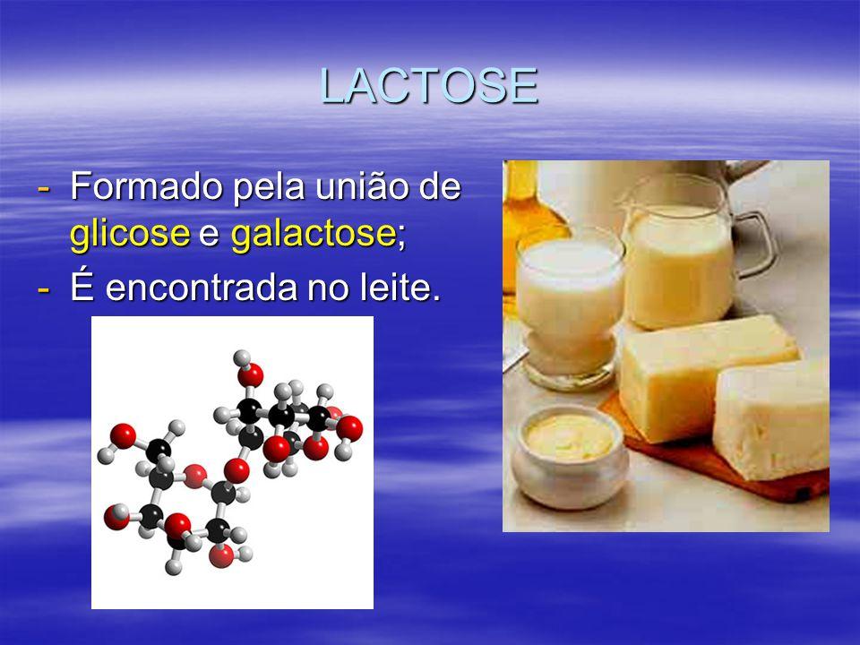 LACTOSE -Formado pela união de glicose e galactose; -É encontrada no leite.