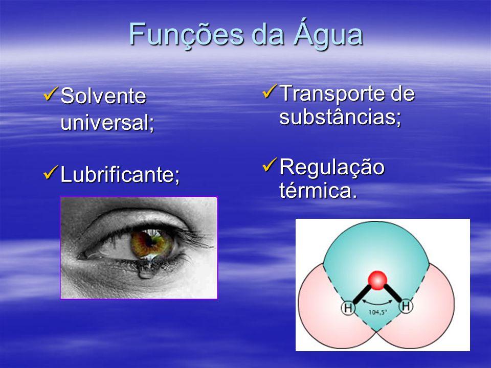 Funções da Água Solvente universal; Solvente universal; Lubrificante; Lubrificante; Transporte de substâncias; Transporte de substâncias; Regulação térmica.