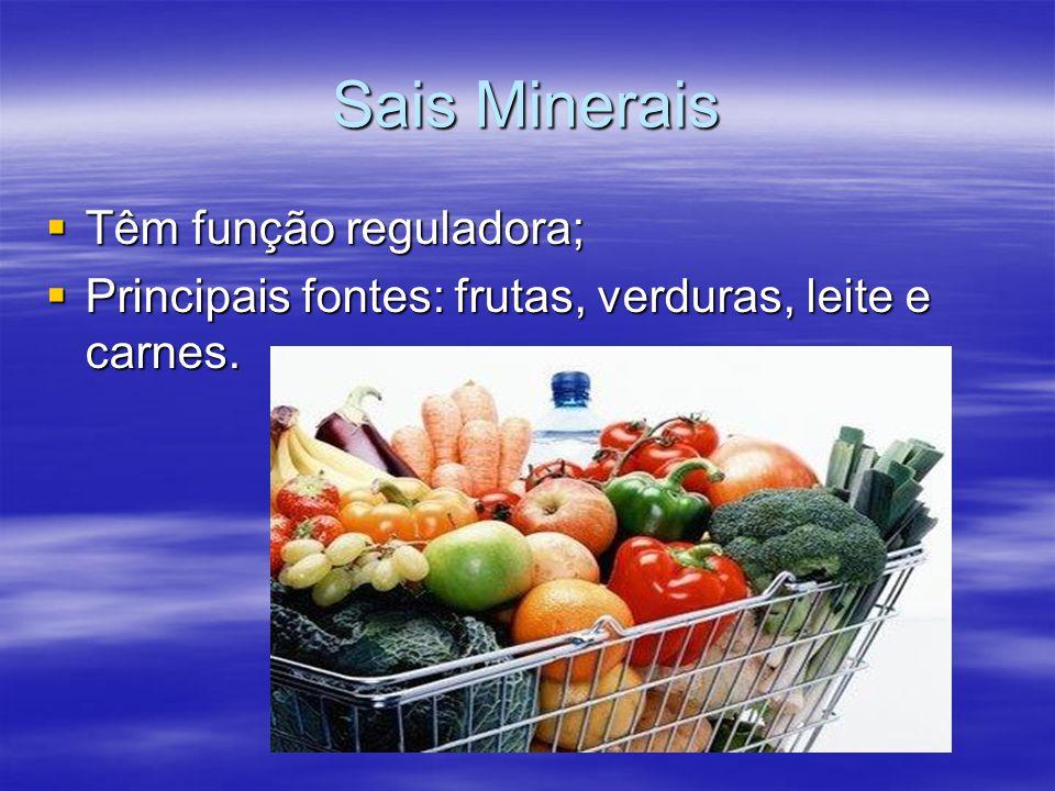 Sais Minerais  Têm função reguladora;  Principais fontes: frutas, verduras, leite e carnes.