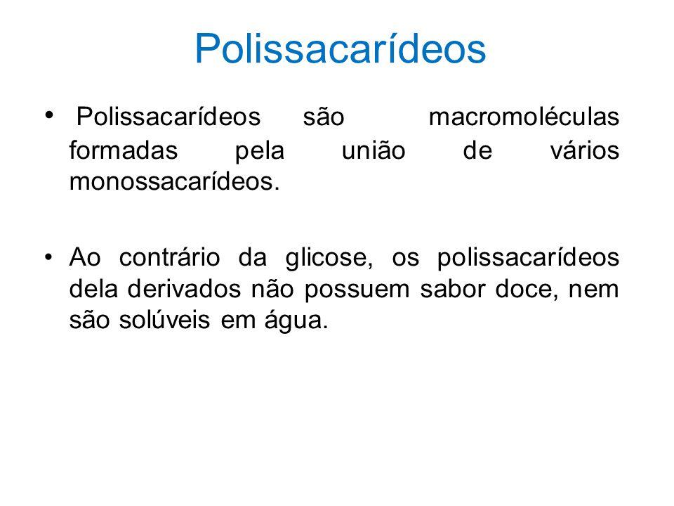 Polissacarídeos Polissacarídeos são macromoléculas formadas pela união de vários monossacarídeos. Ao contrário da glicose, os polissacarídeos dela der