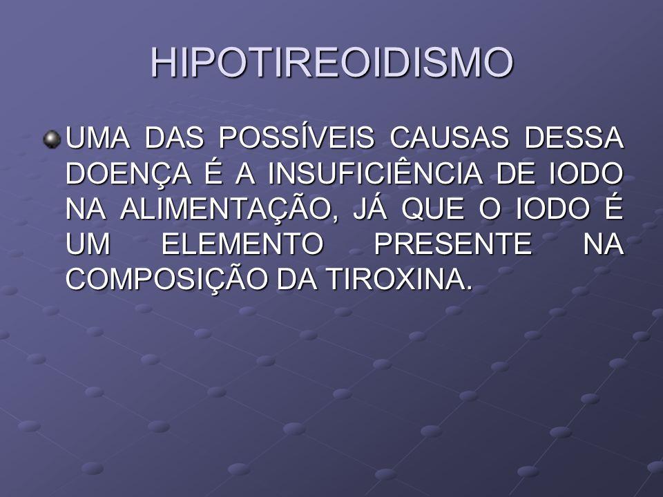HIPOTIREOIDISMO UMA DAS POSSÍVEIS CAUSAS DESSA DOENÇA É A INSUFICIÊNCIA DE IODO NA ALIMENTAÇÃO, JÁ QUE O IODO É UM ELEMENTO PRESENTE NA COMPOSIÇÃO DA TIROXINA.