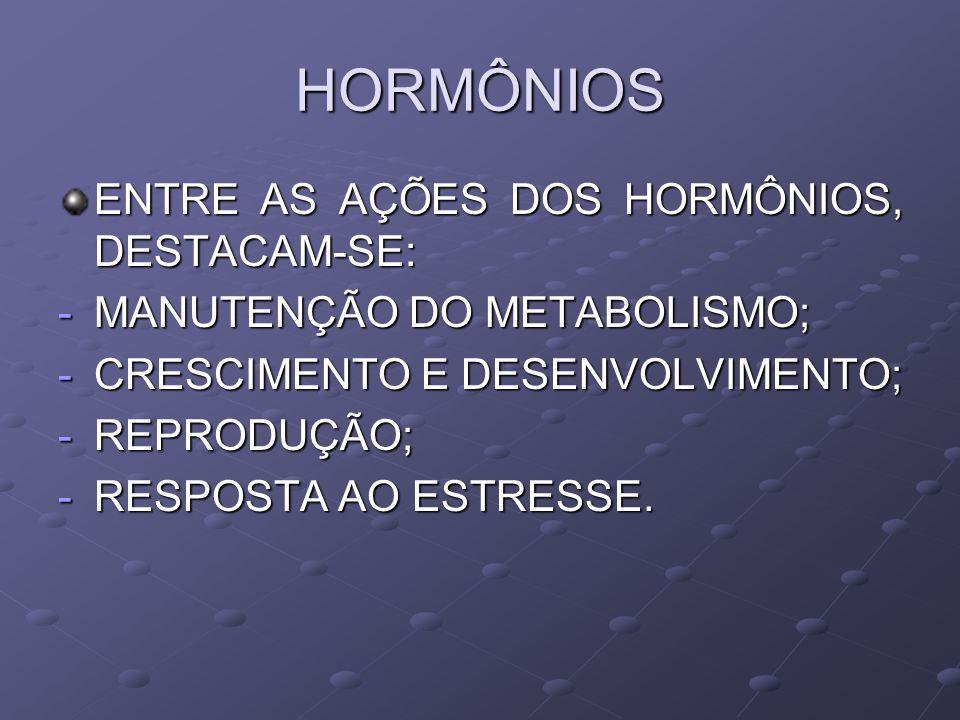 HORMÔNIOS ENTRE AS AÇÕES DOS HORMÔNIOS, DESTACAM-SE: -MANUTENÇÃO DO METABOLISMO; -CRESCIMENTO E DESENVOLVIMENTO; -REPRODUÇÃO; -RESPOSTA AO ESTRESSE.