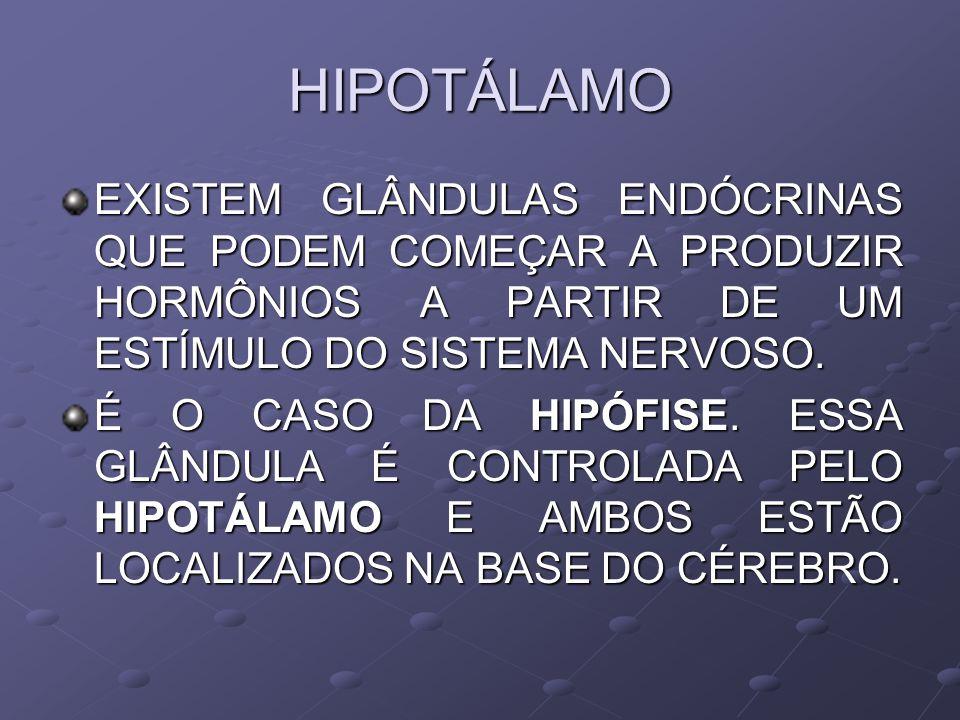 HIPOTÁLAMO EXISTEM GLÂNDULAS ENDÓCRINAS QUE PODEM COMEÇAR A PRODUZIR HORMÔNIOS A PARTIR DE UM ESTÍMULO DO SISTEMA NERVOSO. É O CASO DA HIPÓFISE. ESSA