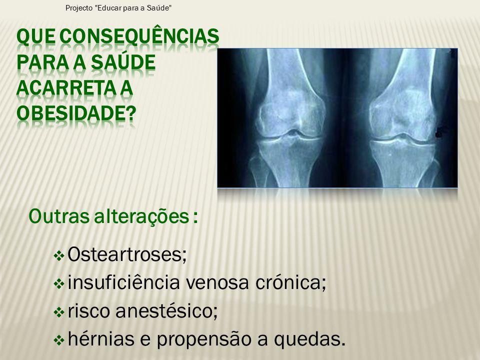 Outras alterações :  Osteartroses;  insuficiência venosa crónica;  risco anestésico;  hérnias e propensão a quedas. Projecto