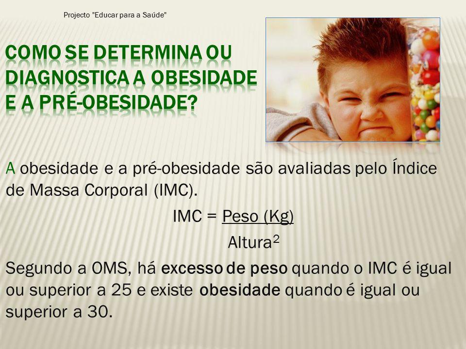 A obesidade e a pré-obesidade são avaliadas pelo Índice de Massa Corporal (IMC). IMC = Peso (Kg) Altura 2 Segundo a OMS, há excesso de peso quando o I