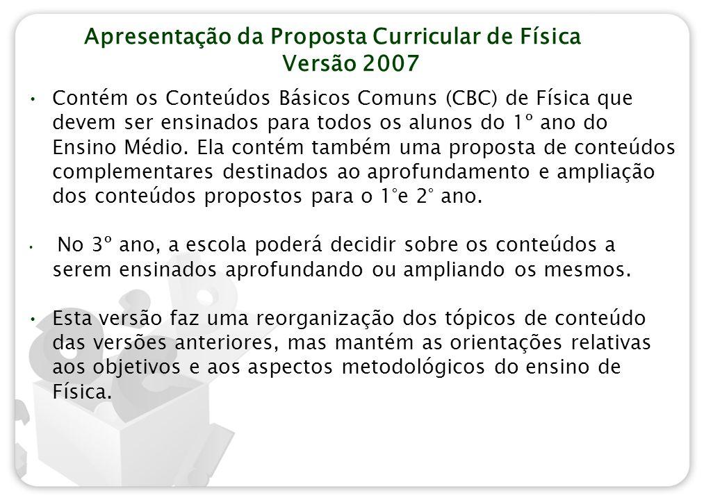 Apresentação da Proposta Curricular de Física Versão 2007 Contém os Conteúdos Básicos Comuns (CBC) de Física que devem ser ensinados para todos os alu