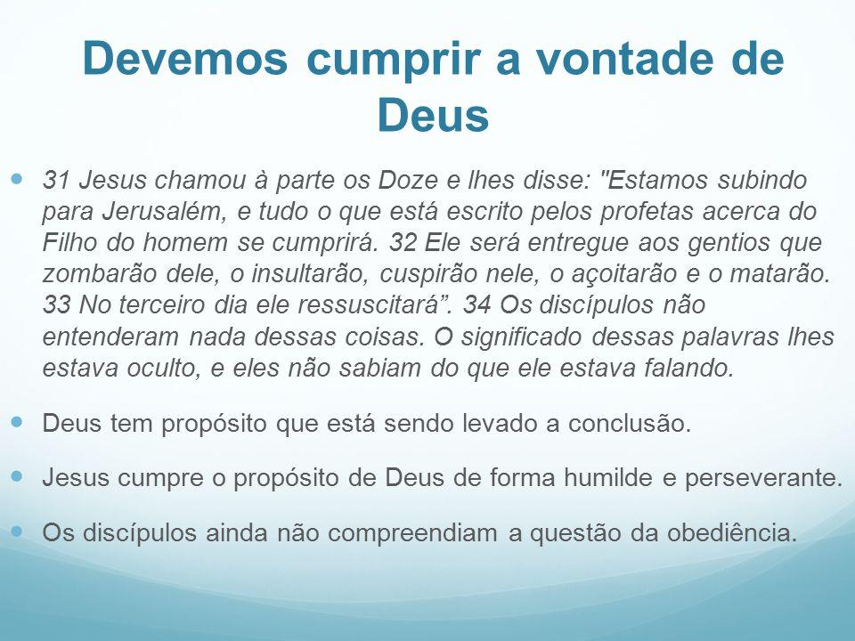 Devemos cumprir a vontade de Deus 31 Jesus chamou à parte os Doze e lhes disse: