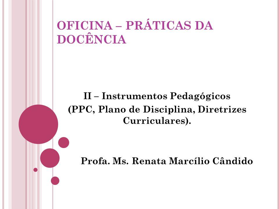 OFICINA – PRÁTICAS DA DOCÊNCIA II – Instrumentos Pedagógicos (PPC, Plano de Disciplina, Diretrizes Curriculares).