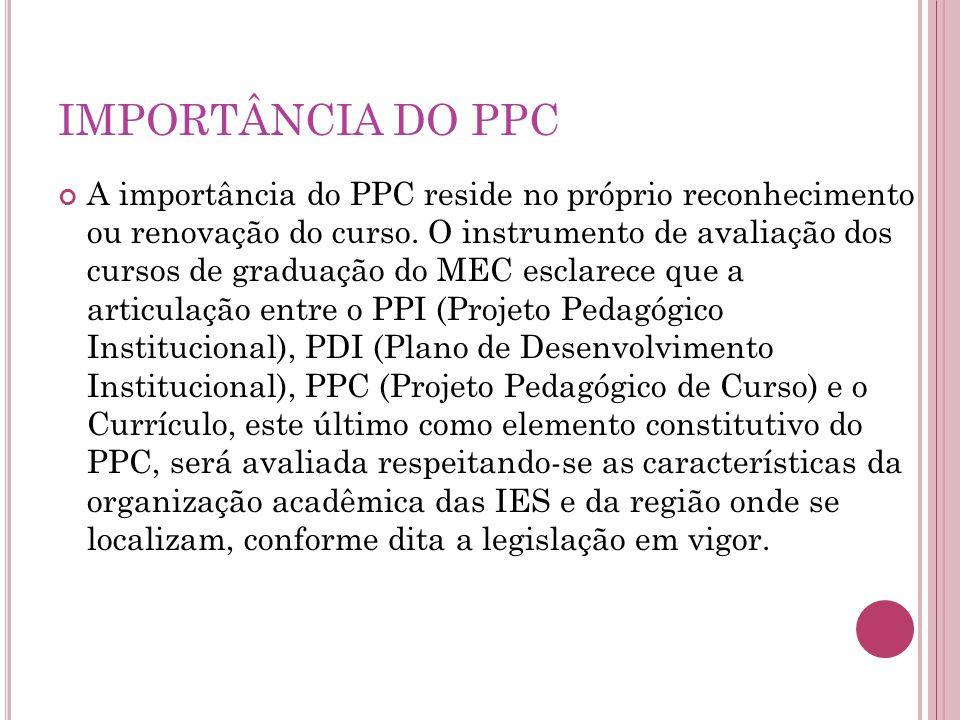 IMPORTÂNCIA DO PPC A importância do PPC reside no próprio reconhecimento ou renovação do curso.