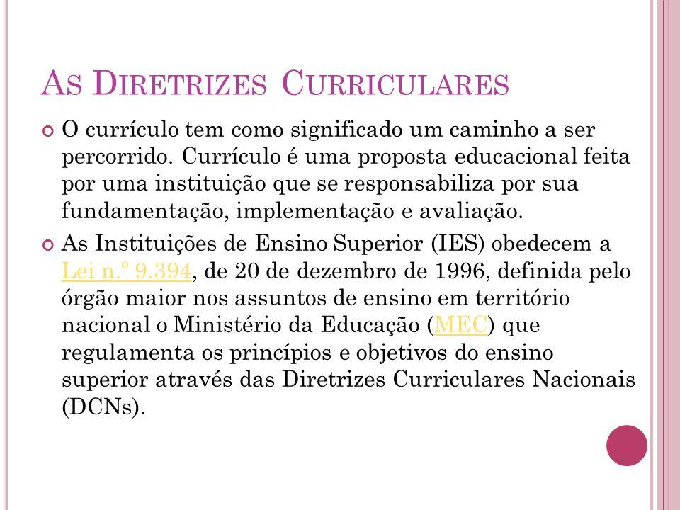 A S D IRETRIZES C URRICULARES O currículo tem como significado um caminho a ser percorrido.