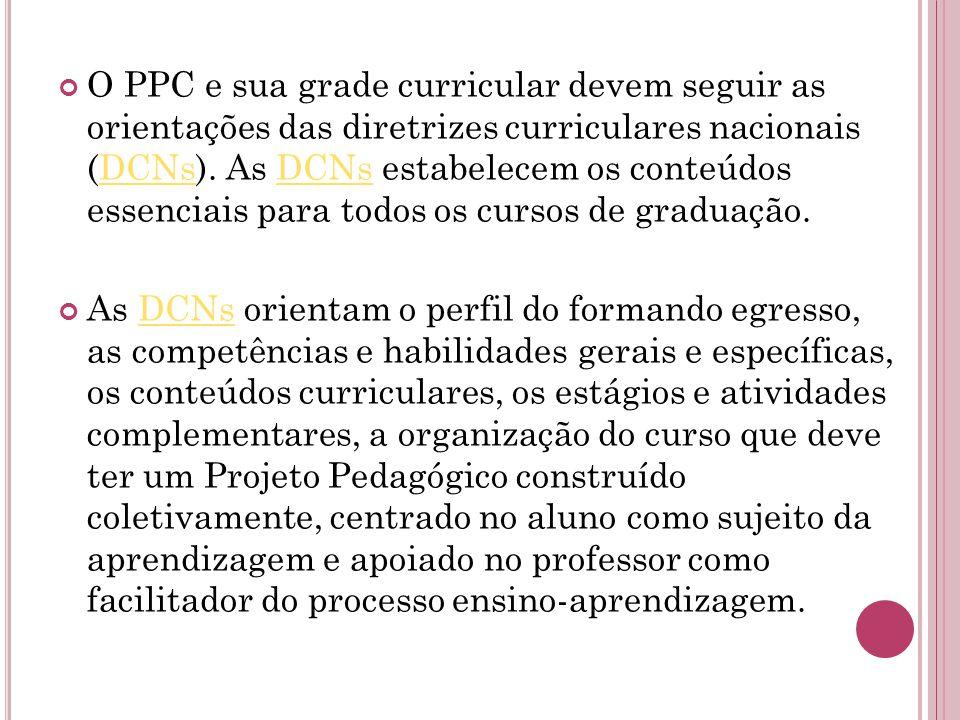 O PPC e sua grade curricular devem seguir as orientações das diretrizes curriculares nacionais (DCNs).